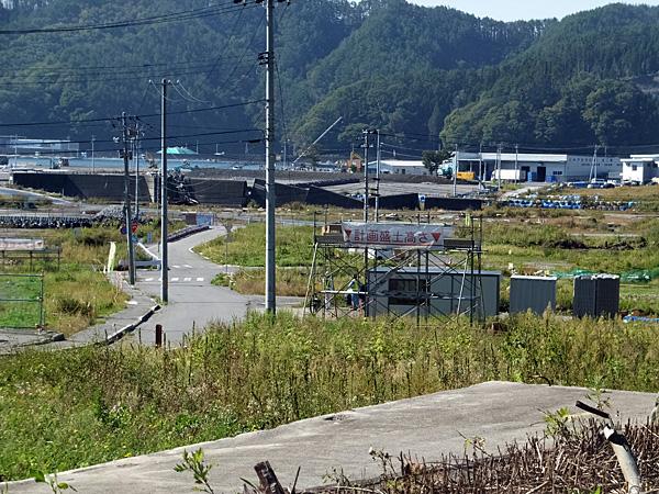 大槌町安渡地区の計画盛土高-2014/9/30撮影