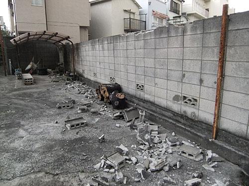 ブロック塀の損壊